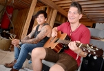 Chartkell Kerr, vocal/drums, and Tom Vanderkam, lead vocals/guitar from Tommy Alto band in Tom's basement.