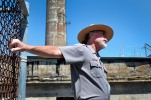 U.S. Park Ranger John Cantwell makes his way on Alcatraz explaining about the 1962 escape. Thursday, May 2, 2013.