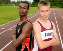 North Surrey's Ephraim Tadesse (left) and Kwantlen Park's Tim Delcourt will take one last run at a gold medal at the B.C. Track and Field Championships in Langley. Tuesday, May 28, 2013.