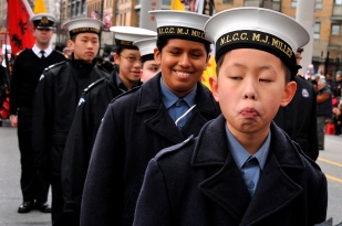 Boys from the Navy League Cadets of Canada marching in the Chinese New Year parade in Vancouver, B.C. Sunday, Feb. 17, 2013.