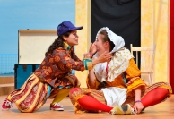 "Left to right: Marcela Caceres playing Shakespeare; Natasha Zacher playing Kempe. Beach House Theatre Society presenting ""Munsch Ado About Nothing"" adapted by Debbie Patterson in Crescent Beach, Surrey. Aug. 2013."