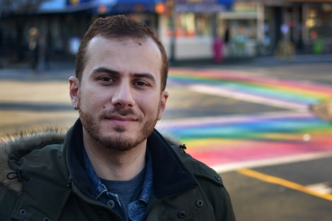 "Danny Ramadan poses for a photo in front of Qmunity, a Vancouver-based queer resource centre, on Monday, Nov. 30, 2015. ""That's my beat, that's the thing that makes me happy,"" he said."